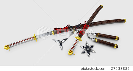 Japanese Katana. Samurai set Isolated weapons.  27338883