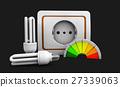 3d Illustration of bulb, socket isolated on black 27339063