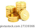 Gold dollar coins, 3D rendering 27339366