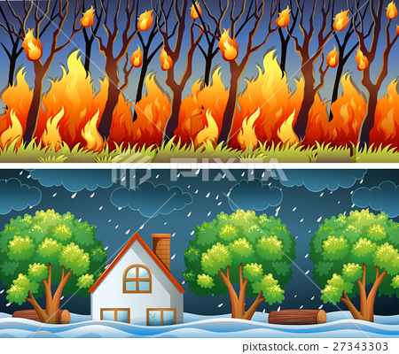 Scenes with forest fire and storm 27343303