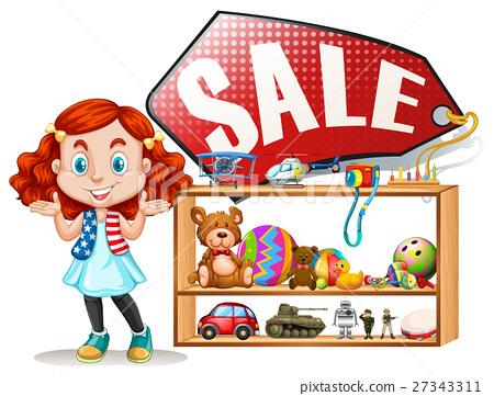 Girl saling old toys 27343311