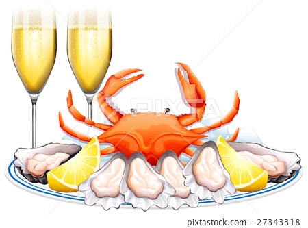 Plate of fresh crab and oysters 27343318