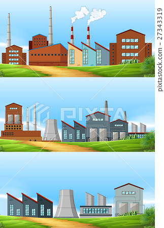 Three scenes with factories in the field 27343319
