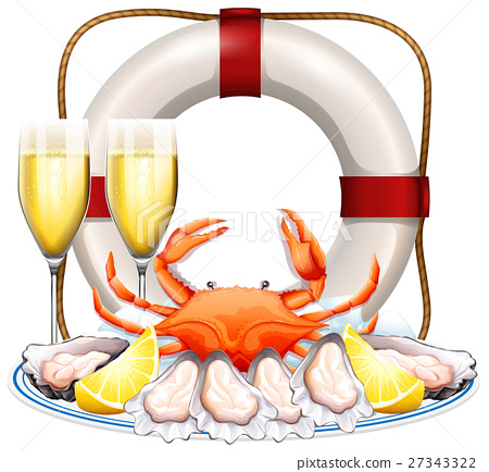 Seafood on the plate with champagne glasses 27343322