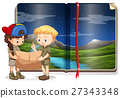 kids reading map with book of green field behind 27343348