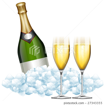 Two glasses of champagne and bottle in ice 27343355