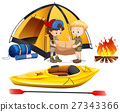 Boy and girl camping out 27343366