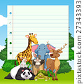 Border design with many wild animals 27343393