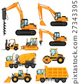 Different types of construction vehicles 27343395