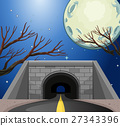 Scene with tunnel at night 27343396