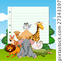 Paper template with wild animals in the field 27343397