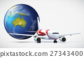 Airplane and the world on white background 27343400