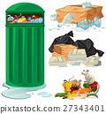 Trashcan and different types of trash 27343401