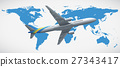World map and airplane flying 27343417