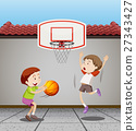 Two boys playing basketball at home 27343427