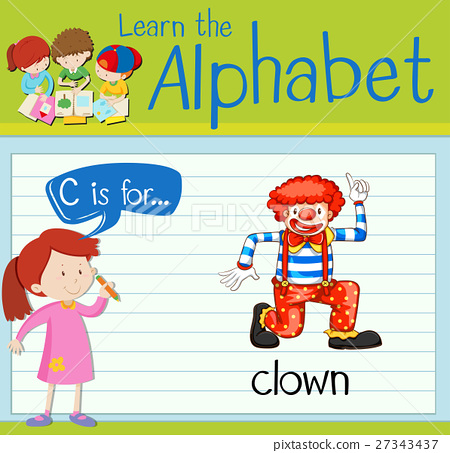 Flashcard letter C is for clown 27343437