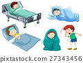 Kids being sick in bed 27343456