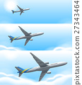Three scenes of airplane flying in sky 27343464