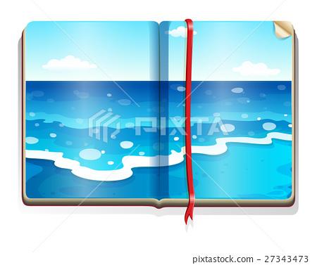 Book with ocean scene 27343473