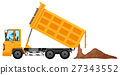 Man driving truck loaded with soil 27343552