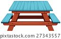 Picnic table painted blue 27343557