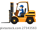 Male driver driving forklift 27343563