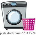 Washing machine and pink basket 27343574