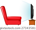 Red sofa and television on table 27343581