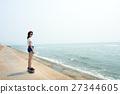 Skateboard Recreational Pursuit Summer Beach Holiday Concept 27344605