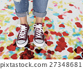 Sneakers Feet Casual Cheerful Party Shoes Concept 27348681