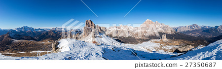 Dolomites huge panorama landscape view in winter 27350687
