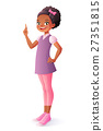 Cute African girl got idea and finger pointing up 27351815