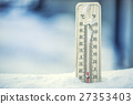 Thermometer on snow shows low temperatures. 27353403