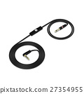 Black headphones cable isolated on white 27354955