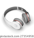 White with gray wireless headphones isolated on 27354958