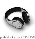 Black leather headphones isolated on white 27355359