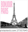 Bonjour Paris - Romantic card with quote and 27357045