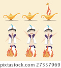 Aladdin's magic lamp and people in Arabic clothes. 27357969