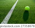 soft focus of tennis ball on tennis grass court go 27358678