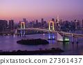 rainbow bridge, tokyo tower, suspension bridge 27361437
