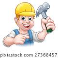Carpenter Handyman in Hard Hat Holding Hammer Tool 27368457