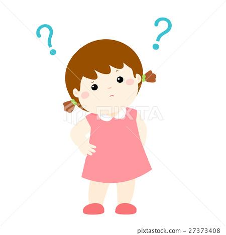 Little girl wondering cartoon character vector 27373408