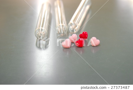 valentine pink red heart symbol with test tubes 27373487