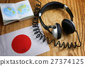 course language headphone and flag on a table 27374125