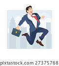 Businessman jumping on the background of the city 27375768
