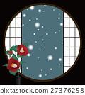 round window, paper sliding door, camellia 27376258