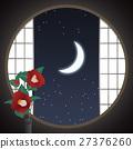 round window, paper sliding door, camellia 27376260