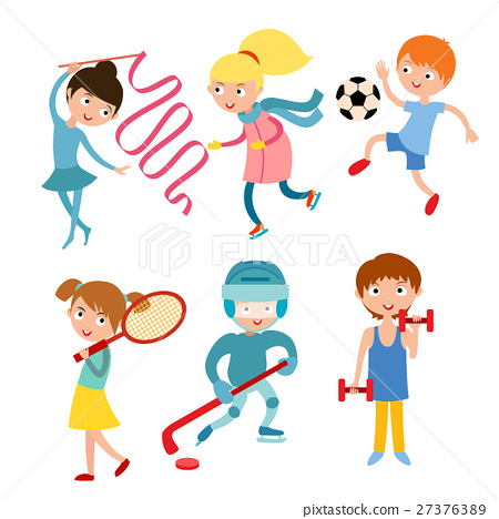 Young kids sportsmens isolated on white vector 27376389