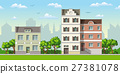 Illustration of three classic family houses 27381078