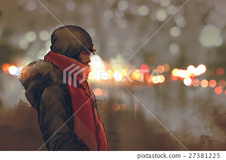 outdoor portrait of young man in winter with bokeh 27381225